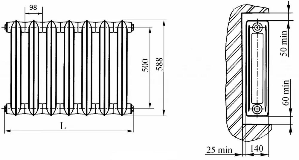 Чертеж одного из наиболее популярных чугунных радиаторов – МС-140-500