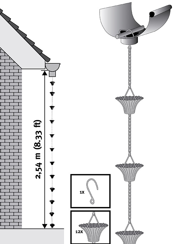 Как закрепить дождевую цепь