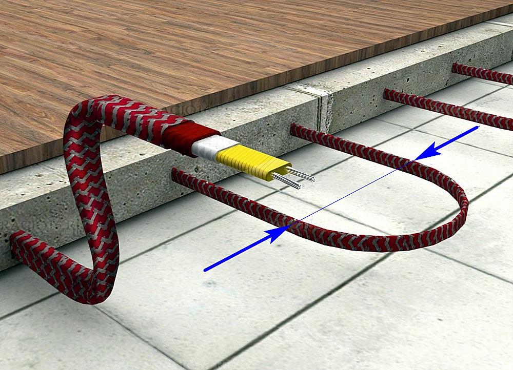 Примерная схема – уложенный петлями саморегулирующийся кабель, залитый стяжкой. Синими стрелками показан шаг укладки.