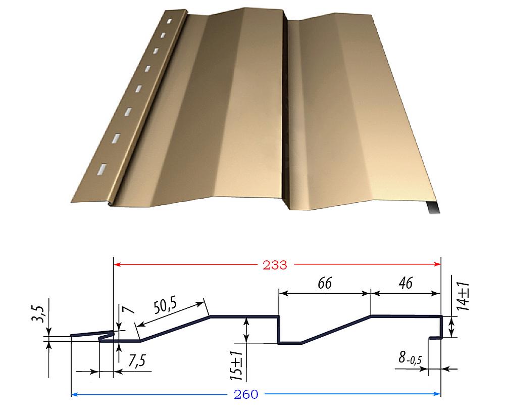 Пример чертежа профиля сайдинговой «доски». Проставлены все размеры, в том числе общая (синим цветом) и полезная (красным цветом) ширина панели.