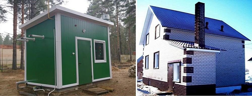Вынесенные котельные: слева – в отдельно стоящем здании (в данном примере – облегченного модульного типа), справа – в капитальной пристройке к дому. Оба варианта можно считать оптимальными.