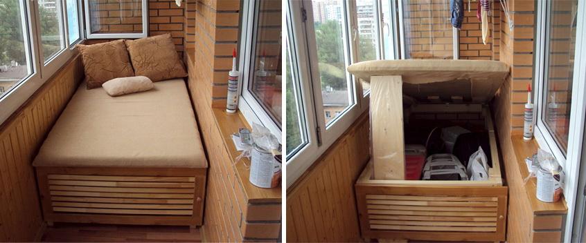 Место хранения под диваном на балконе