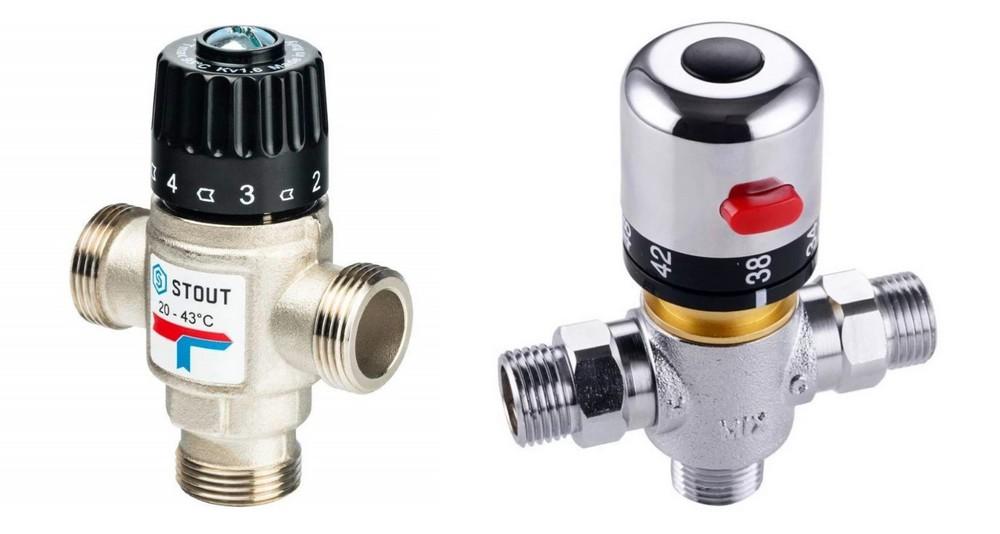 Пример термостатических трёхходовых клапанов с условной и абсолютной шкалой на рукоятке установке температуры.