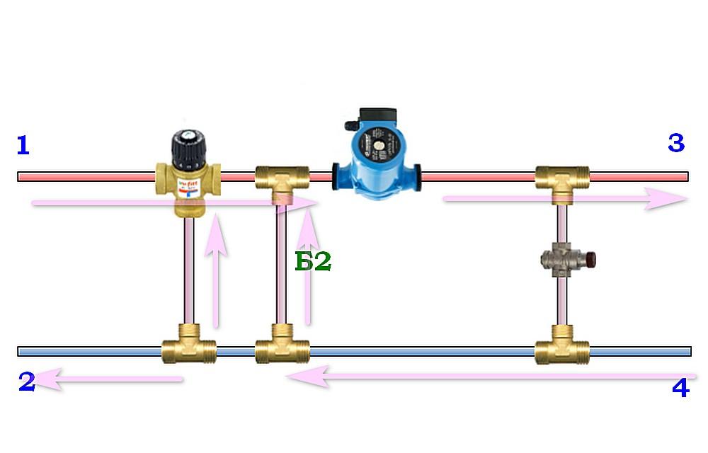 Небольшие изменения, но схема уже способна самостоятельно реагировать на изменения температуры потока теплоносителя.
