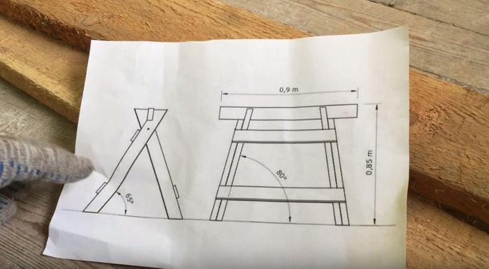 Простой чертеж складных козел