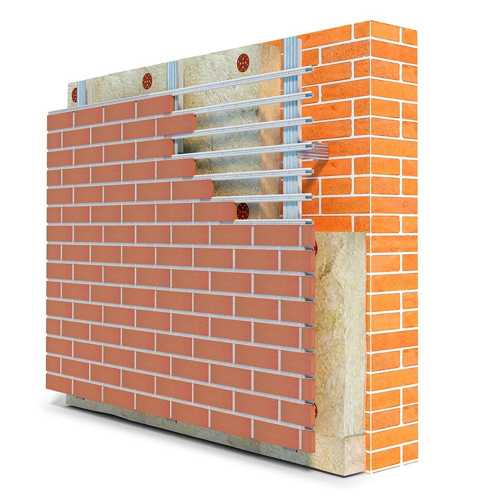 Пример укладки теплоизоляции на кирпичную стену с отделкой в виде вентилируемого фасада
