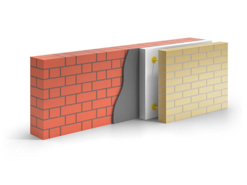 Пример укладки теплоизоляции на кирпичную стену с отделкой в виде облицовочного кирпича