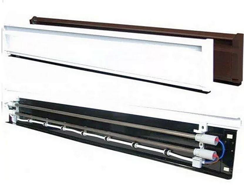 Два варианта корпуса (по окраске) и общее устройство электрического теплого плинтуса «Термия». У водяного на месте линейных ТЭНов расположены трубки.