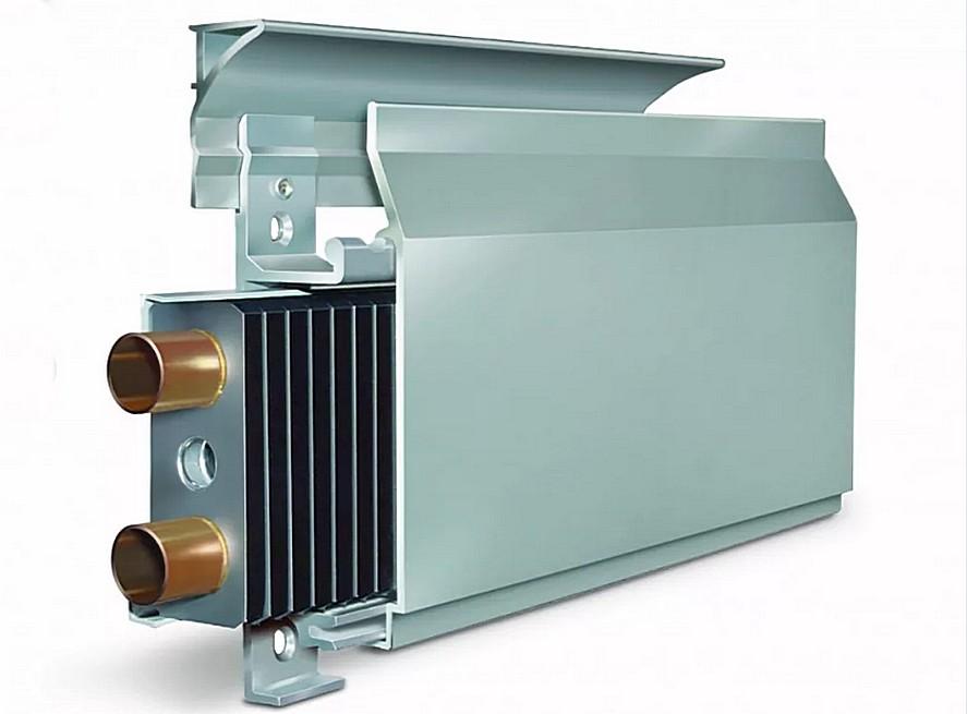 Теплый плинтус «Thermodul» в двухтрубном одинарном исполнении только с водяным нагревом.