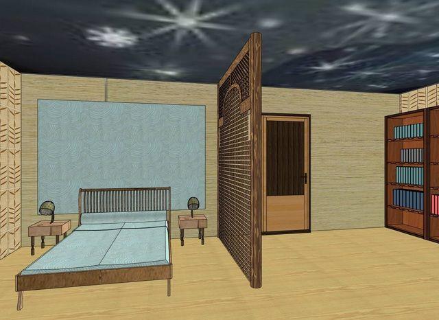 Один из вариантов разделения комнаты на две - ажурная деревянная перегородка