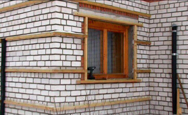 Установка обрешетки фасада