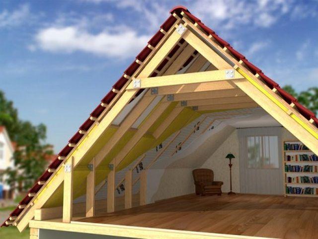Под двускатной крышей может быть организовано и жилое помещение
