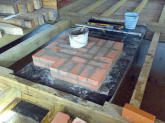 Готовый фундамент с гидроизоляционным слоем и первыми рядами кладки