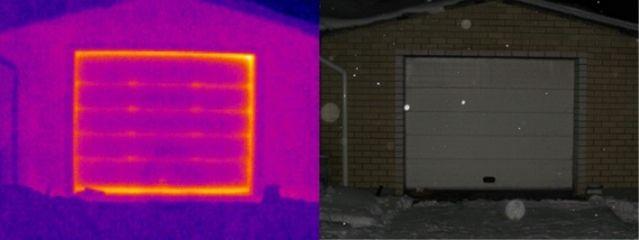 Термограмма утечки тепла из гаража. Обратите внимание на ворота