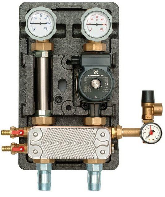 Блок подключения отопления через теплообменник