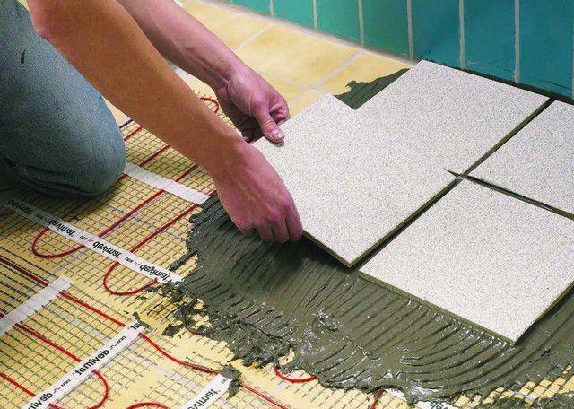 Укладка керамической плитки непосредственно на обогревательные маты
