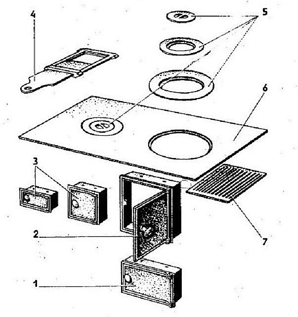 Обычный набор чугунных и стальных деталей для кладки отопительно-варочной печи