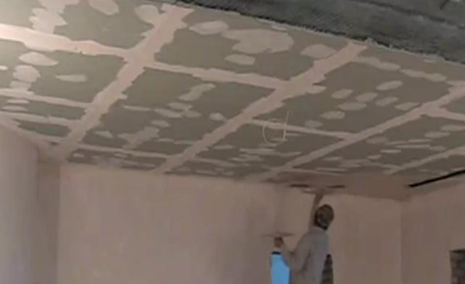 Потолок с гипсокартона своими руками шпаклевка