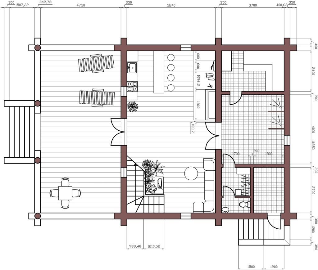 Проект сауны в готовом срубе с комнатой отдыха, бильярдной и спальней для гостей