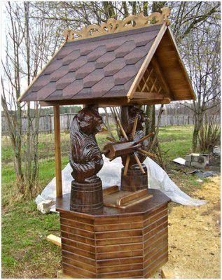 Резной колодезный домик — украшение участка