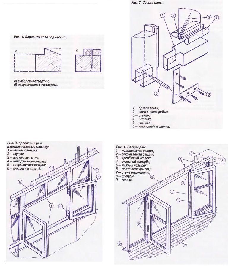 Остекление балконов своими руками чертежи