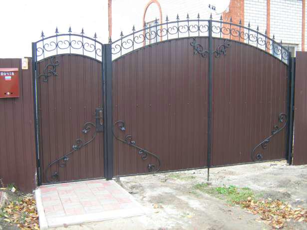 Красивые ворота своими руками из профнастила
