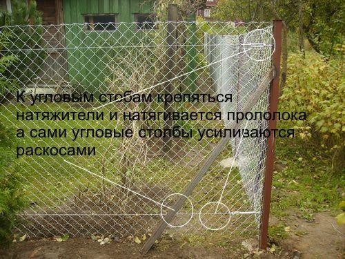Как установить забор из сетки рабица