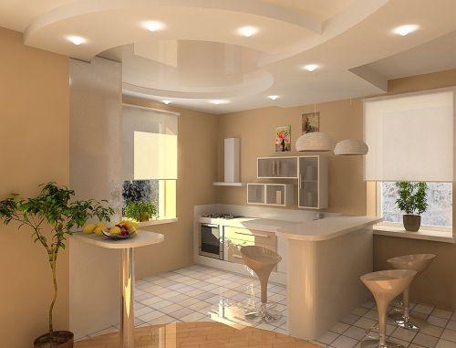 Потолки из гипсокартона на кухню позволят вам установить абсолютно любое освещение