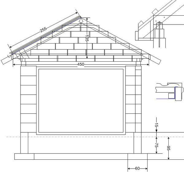 Схема гаража из пеноблоков