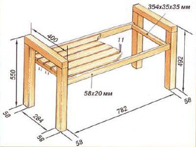 Схема деревянной лавки с подлокотниками