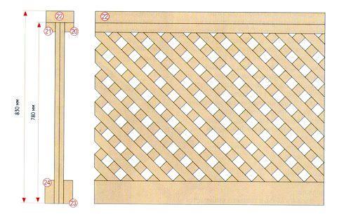 Схема деревянной опорной решетки