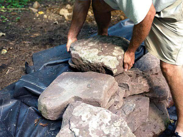 Укладка камней на кромку