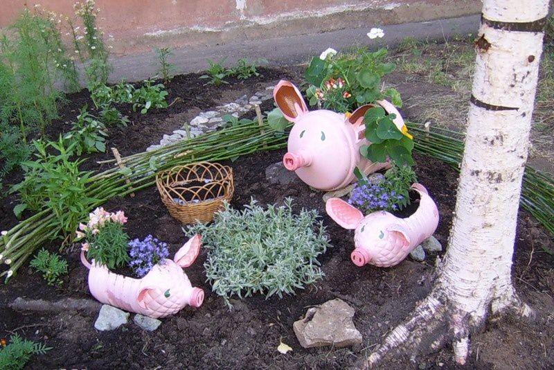 фигурки из пластиковых бутылок для сада своими руками, садовые фигуры.