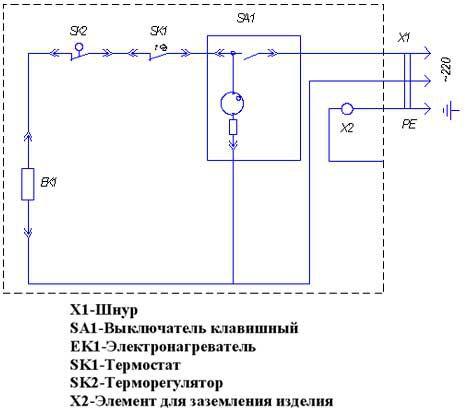 Электрическая схема наливного электрического водонагревателя