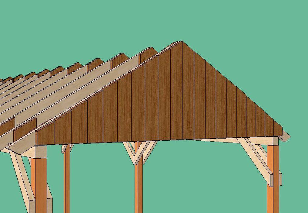 Торцы двускатной крыши зашиваем, для чего можно использовать либо фанеру, либо доску