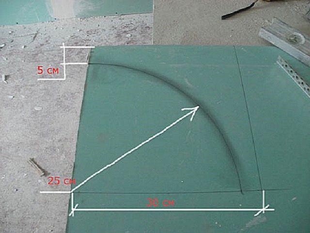 Предварительная разметка гипсокартонной панели