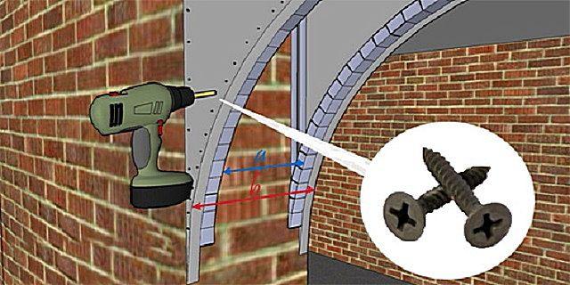 Установка изогнутого профиля по нижнему обрезу арки