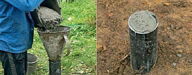 Заполнение внутренней полости сваи бетонным раствором