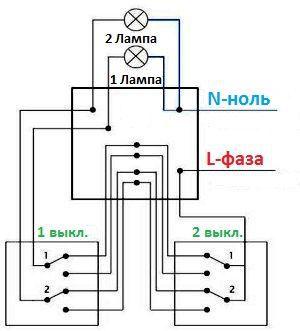 Как подключить 2 клавишный проходной выключатель