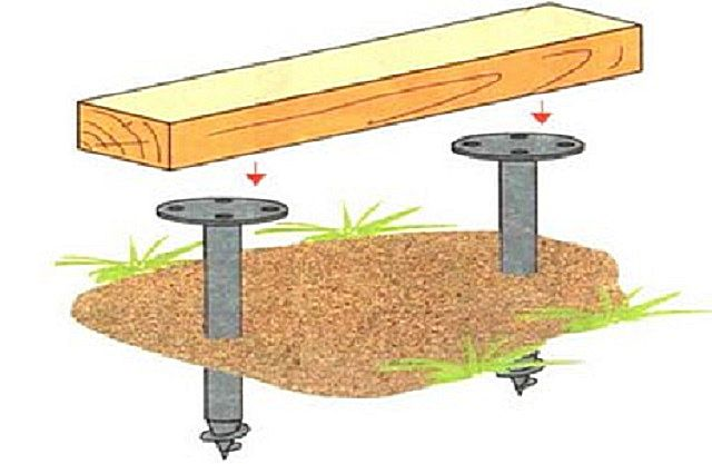 Крепление деревянного ростверка к винтовым сваям