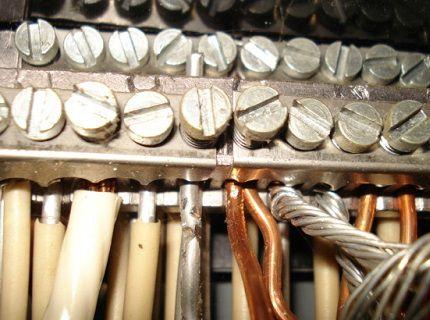 Пример соединения медных и алюминиевых проводников