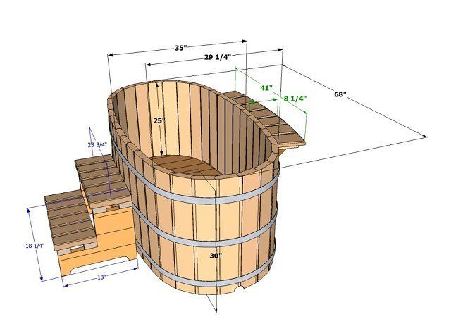 Чертеж деревянной купели (в данном случае размеры проставлены в дюймах)