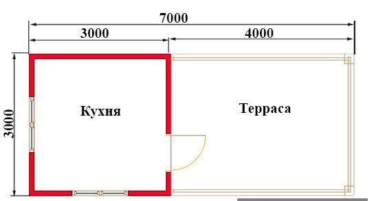 Летняя кухня 7х3. Проект