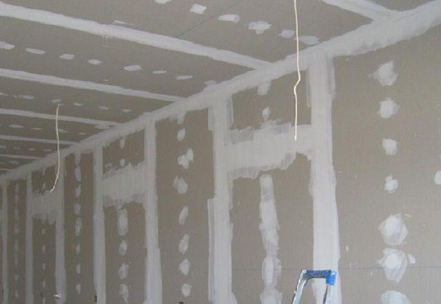 Гипсокартонные стены после предварительной обработки
