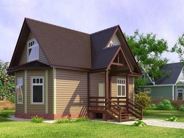 Дачный домик с небольшой мансардой