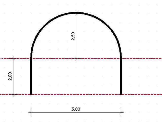 Помещение с участком полукруглой формы