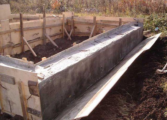 Проволочные стяжки срезаны - и щиты отошли от ленты фундамента