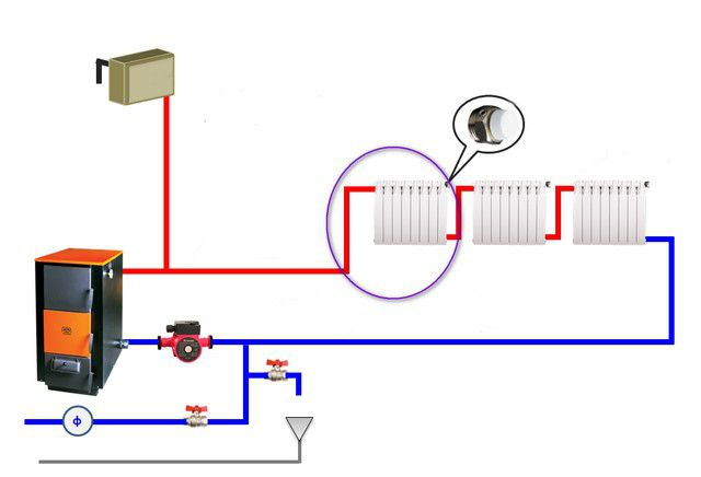 Б. Радиаторы подключены по диагонали