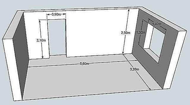 От площади стен, при необходимости, отнимают площадь оконных и дверных проемов