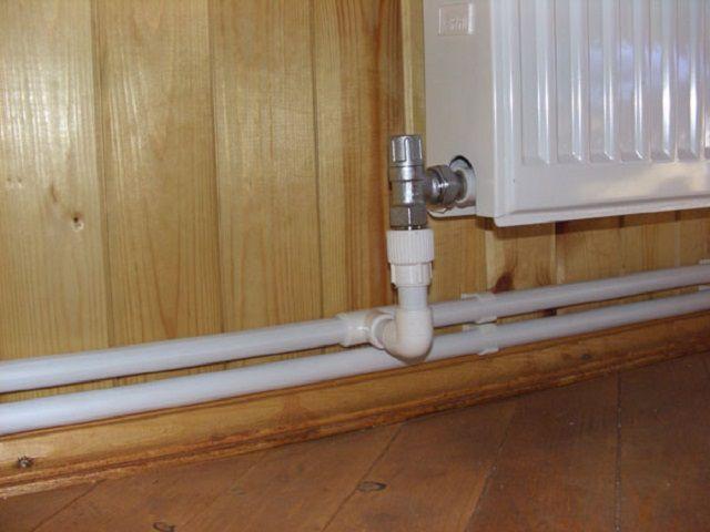 Боковое соединение радиатора с трубой, дополненное термостатом